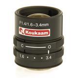 "1/3"" objektiv, 1.6 – 3.4mm, F 1.4, manuálny, CS"