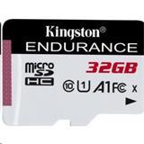 32 GB . microSDHC karta Kingston High Endurance Class 10 UHS-I U1 (r95MB/s, w30MB/s) bez adaptéra