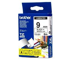 BROTHER TZe-221 čierna potlač/biela páska 9 mm