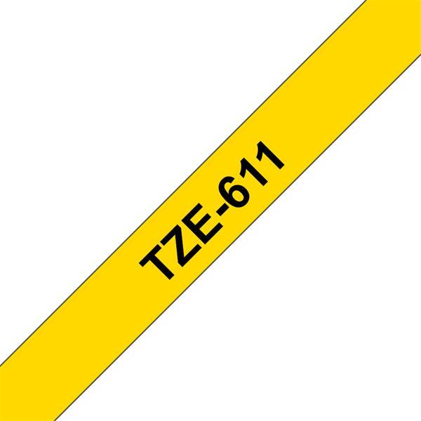 BROTHER TZe-611 čierna potlač/žltá páska 6 mm