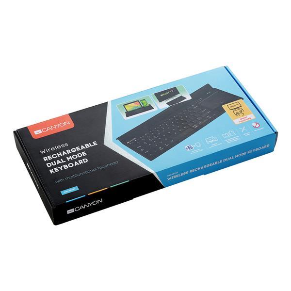 Canyon CND-HBTK7-CS Wireless/Bluetooth multimediálna klávesnica s touchpadom, Win, iOS, Android, SK + CZ, čierna