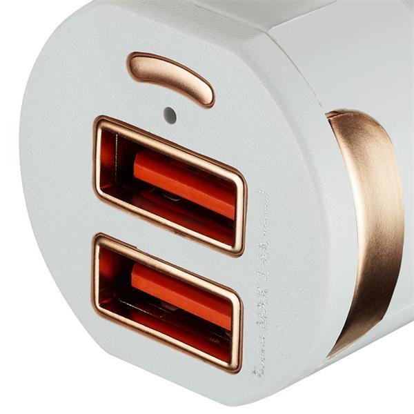 Canyon CNE-CCA04W, univerzálna autonabíjačka, 2x USB, výstup 5V/2.4A, inteligentná technológia nabíjania, biela