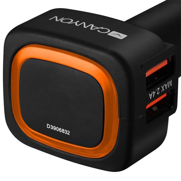 Canyon CNE-CCA05B, univerzálna autonabíjačka, 4x USB, výstup 5V/4.8A, inteligentná technológia nabíjania, podsvietenie,