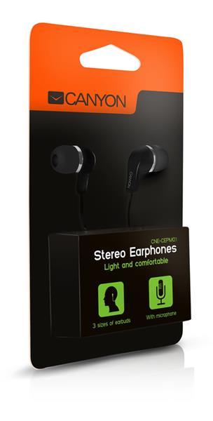 Canyon CNE-CEPM01B, slúchadlá do uší, integrovaný mikrofón a ovládanie, čierne