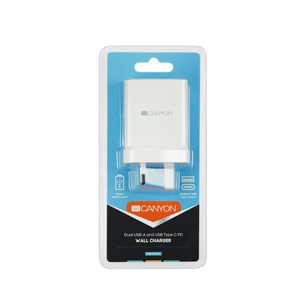 Canyon CNE-CHA08W, prémiová univerzálna nabíjačka do steny 30W, 2x USB, 5V/2.4A + 1xUSB-C Quick Charge, Smart IC, biela