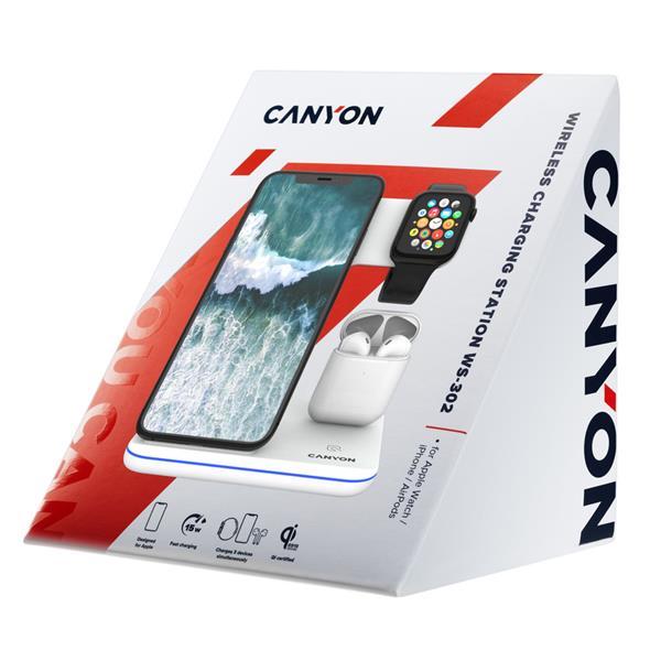 Canyon CNS-WCS302W, 3v1, bezdrôtová Qi nabíjacia stanica pre 3 zariadenia simultánne, biela