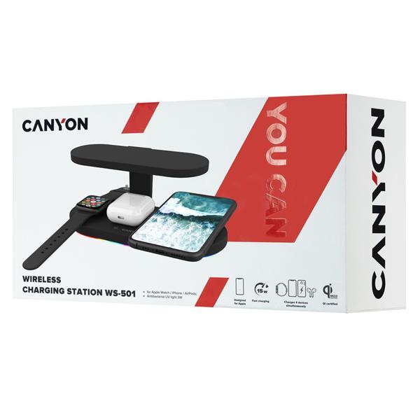 Canyon CNS-WCS501B, 5v1, bezdrôtová Qi nabíjacia stanica pre 4 zariadenia simultánne + UV sterilizátor, LED podsvietenie