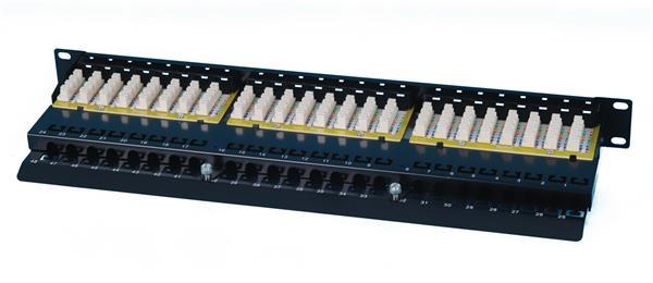 CNS patch panel 48port Cat6, UTP, blok 110, vyväz. lišta, 1U,čierny