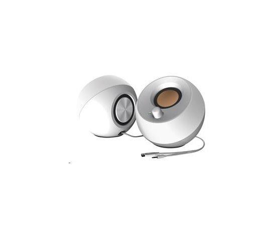 Creative PEBBLE, stolné 2.0 reproduktory s USB napájaním, biele