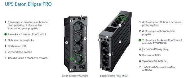 EATON UPS 1/1fáza, 1200VA - Ellipse PRO 1200 FR, Line-interactive