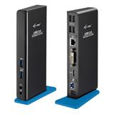 i-tec USB 3.0 Dual Video DVI HDMI Docking Station + Glan + Audio + USB 3.0 Hub