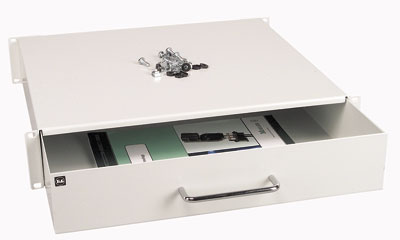 MOELLER / EATON polička výsuvná/zásuvka 1U/400mm, šedá, 4-bod.uchycení, do 50kg