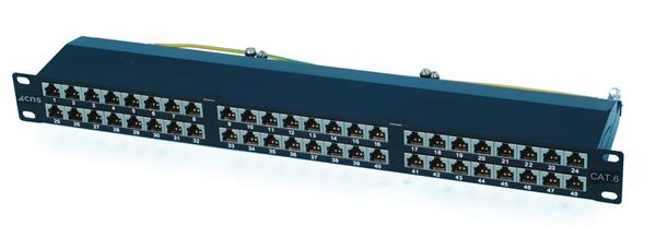 CNS patch panel 48port Cat6, FTP, blok 110, vyväz. lišta 1U, čierny