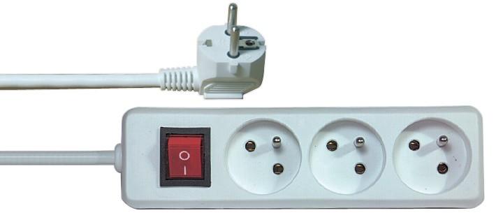 Kábel predlžovací 220V/230V, 3 zásuvky, 2m s vypínačom P1312