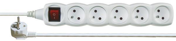 Kábel predlžovací 220V/230V, 5 zásuviek, 5m s vypínačom P1515