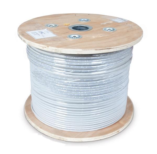 CNS kabel S/FTP, Cat6A, drát, Eca, PVC, cievka 305m - šedá