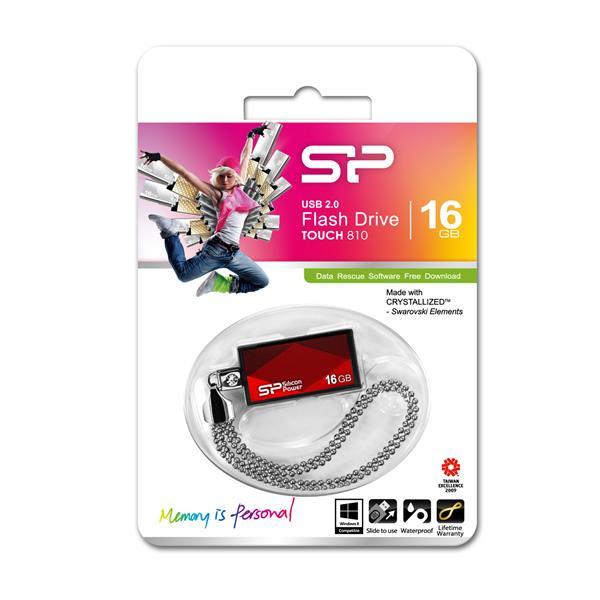 16 GB . USB kľúč ..... Silicon Power TOUCH 810, červený (odolný voči vode a nárazom)