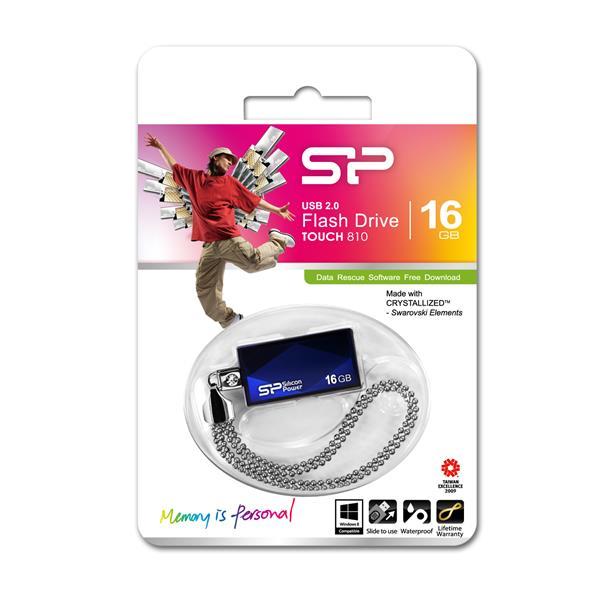 16 GB . USB kľúč ..... Silicon Power TOUCH 810, modrý (odolný voči vode a nárazom)