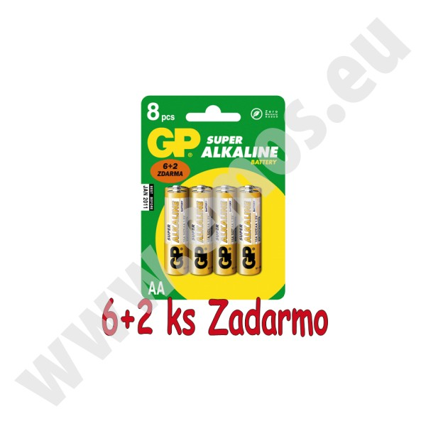 GP alkalická AA batéria , balenie 6+2 ks ZADARMO