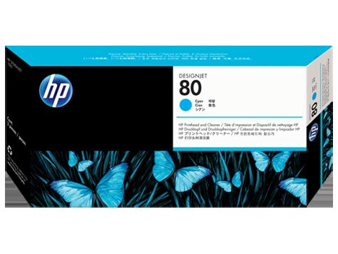 HP No.80 Cyan Printhead and Printhead Cleaner
