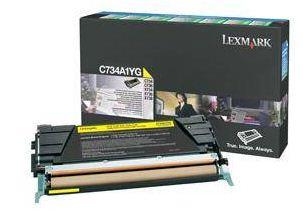 Lexmark C734, C736, X734, X736, X738 Yellow Return Program Toner Cartridg, 6K