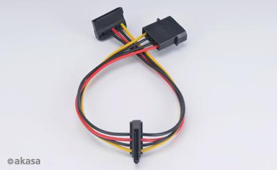 Akasa AK-CBPW01-30 4pin Molex to 2x 15pin SATA power 30cm