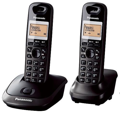 Panasonic KX-TG2512FXT telefon bezsnurovy DECT / čierny - 2x