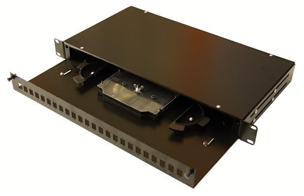 OEM optická vaňa,1U, max. 24 SC/duplexLC spojok, čierna RAL9005,výsuv,vč.kazety