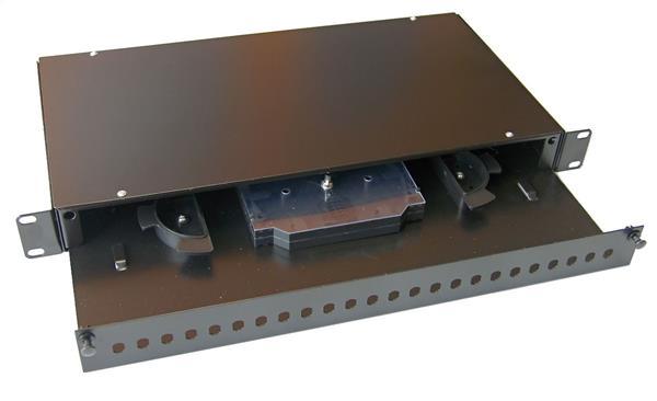 OEM optická vaňa,1U, max. 24 ST spojok, čierna RAL9005,výsuv,vč.kazety