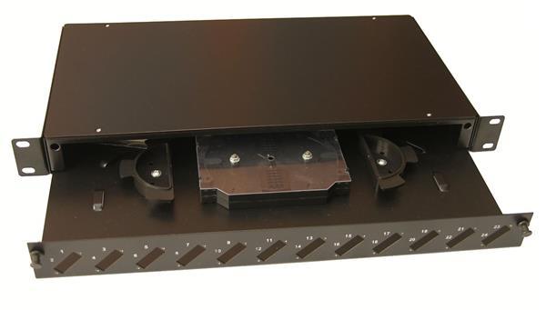 OEM optická vaňa,1U, max. 12 duplexSC spojok, čierna RAL9005,výsuv,vč.kazety