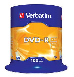 Verbatim - DVD-R 4,7GB 16x 100ks v cake obale