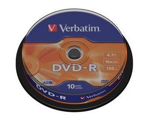 Verbatim - DVD-R 4,7GB 16x 10ks v cake obale