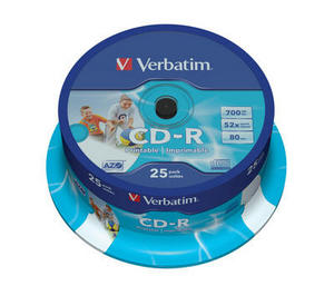 Verbatim - CD-R 700MB 52x Printable 25ks v cake obale