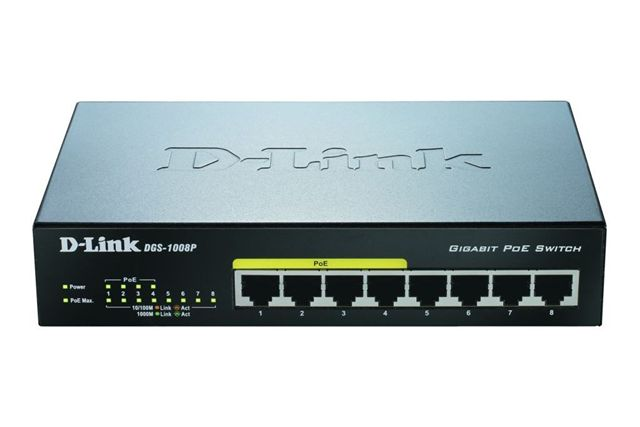 D-Link DGS-1008P 8-port 1Gb switch, 4x PoE+
