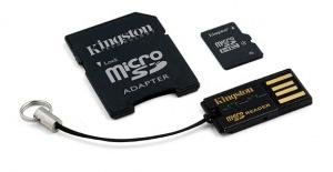 16 GB . microSDHC Karta Kingston class 4 + MicroSD čítačkou + adaptér (w10MB/s)