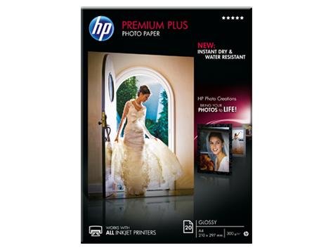 HP Premium Plus Glossy Photo Paper-20 sht/A4/210 x 297 mm