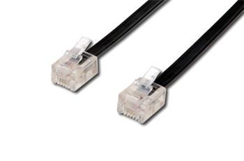 OEM kabel telefónny (4-žilový) 2x RJ11 10m - cierny