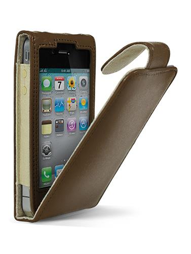 Cygnett, kožené púzdro s klipsou LAVISH pre iPhone 4/4S, hnedé