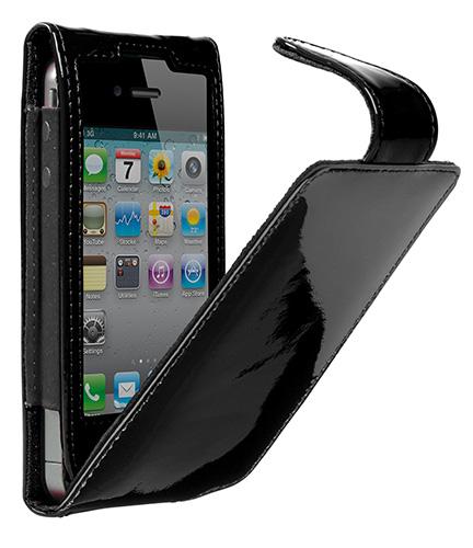 Cygnett, kožené púzdro s klipsou GLAM pre iPhone 4/4S, lesklé čierne