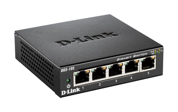 D-Link DGS-105 5-port 1Gb switch - metal housing