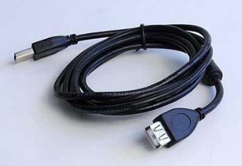 Kábel USB 2.0 predlžovací, typ AM-AF 3m s ferrit. jádrom HQ