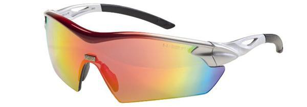 MSA Racers okuliare, dúhové zrkadlové sklá , Sightgard povrchová vrstva , lesklý strieborno červený rám