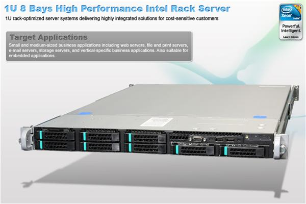 Intel® 1U Server System R1208GZ4GC Grizzly Pass) S2600GZ4 board 1U 8xHS 2x750W