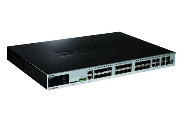 D-Link DGS-3620-28SC/SI 24-port SFP Gb L3 switch, 4x combo, 4x 10Gb SFP+
