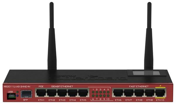 MIKROTIK RouterBOARD 2011UiAS-2HnD-IN + L5 (600MHz; 128MB RAM, 5xLAN,5xGLAN,1x2,4GHz 802.11b/gn,1xSFP, LCD, case, zdroj)
