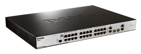D-Link DES-3200-28P 24-port 10/100Mb L2 switch, 2x Gb, 2x Combo/SFP, PoE