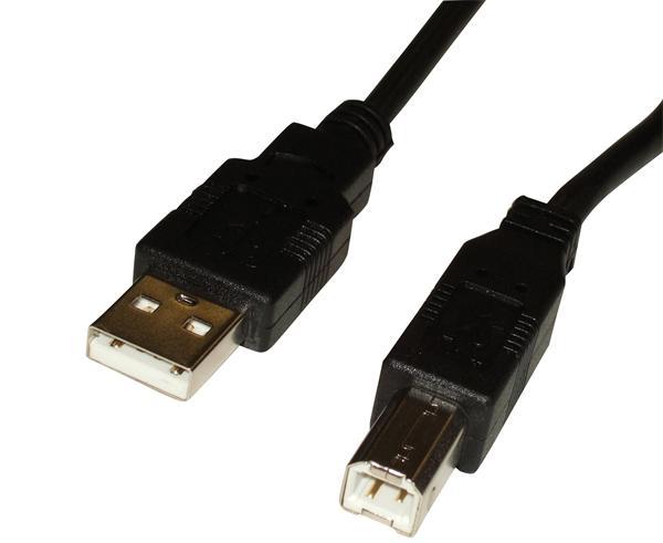 CNS USB 2.0 kábel, A/male - B/male, 5m, čierny