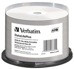 VERBATIM DVD-R 4,7GB 16x WIDE GLOSSY WATERPROOF PRINT. No ID spindl 50pck/BAL
