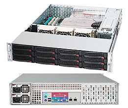 Supermicro StorServer SYS-6026T-MTHF 2x Xeon E56xx 12 x SATAII/SASIII HDD 4xGLAN IPMI2 Gold 1200W redundant 2U assembled