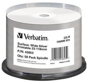 Verbatim CD-R, 700MB, 52x WIDE SILVER INKJET Printable No ID 50ks v cake obale